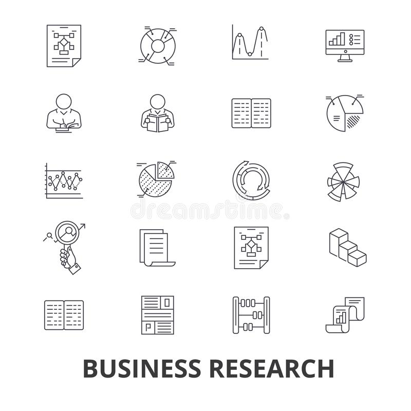 Business research, strategy, marketing, analytics, data, monitoring, studying line icons. Editable strokes. Flat design stock illustration