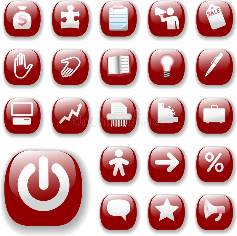 Download Business Retail Icons Ruby Red Stock Vector - Image: 5942726
