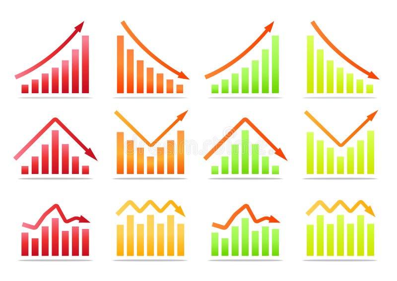 Business revenue statistics. Color collection vector illustration