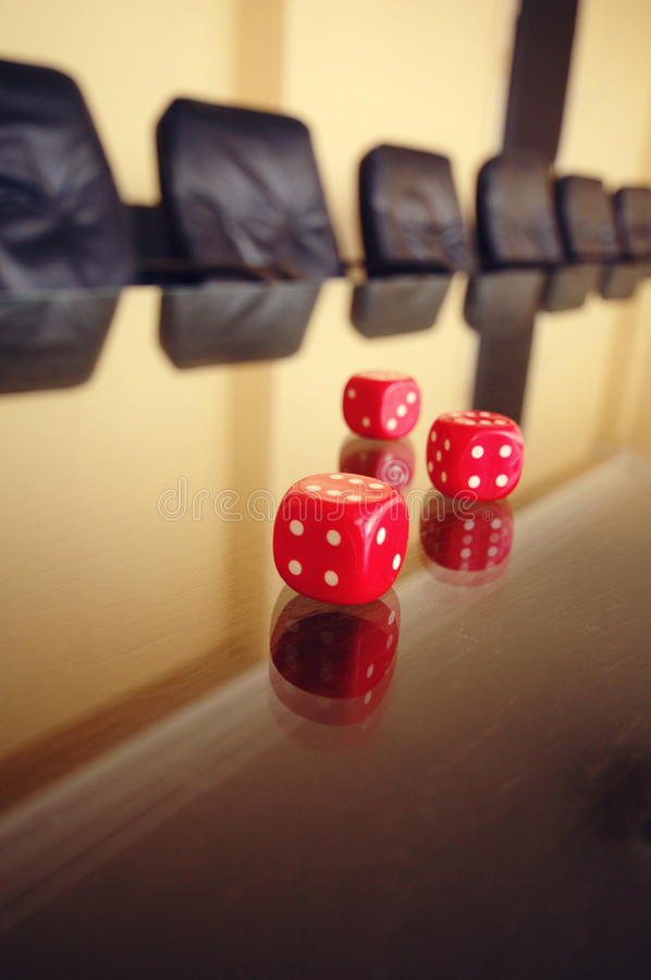 Business risk. Concept, risky business, red dices on the conference table stock photos
