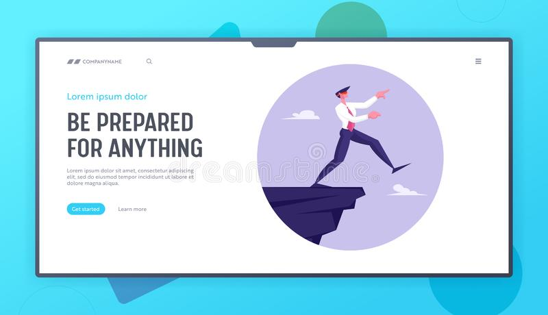 Business Risk and Bankruptcy Website Landing Page. Blindfold Businessman Step into Abyss. Leap of Faith Concept. With Business Man Walks Off the Cliff Web Page royalty free illustration