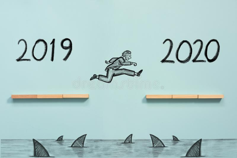 Business Risk And Challenge Concept For New Year. 2020 stock photo