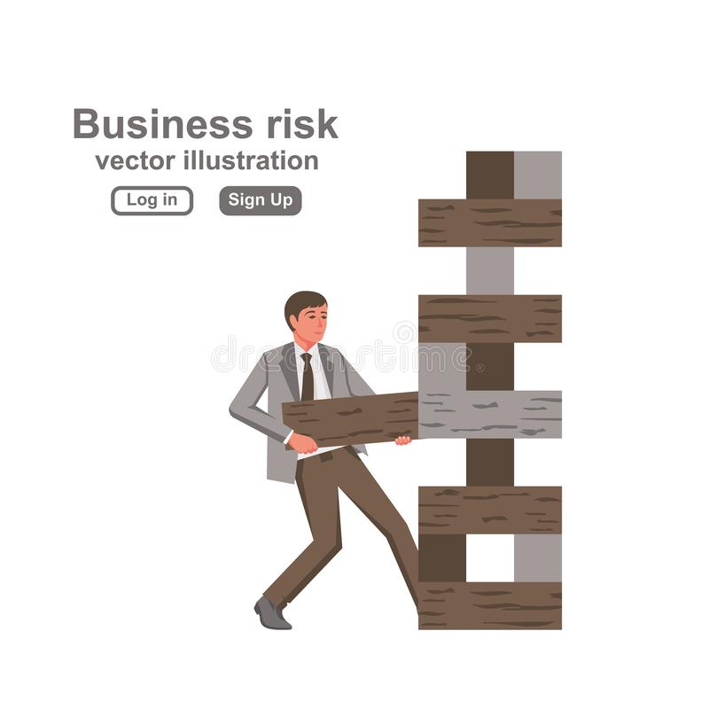 Business risk concept. Businessman pulls out the wooden block, risking to break stack royalty free illustration