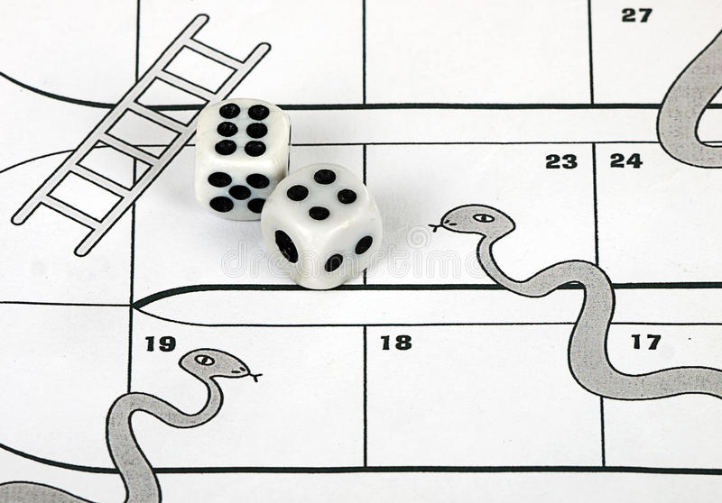 Business risk concept - snakes and ladders royalty free stock photography