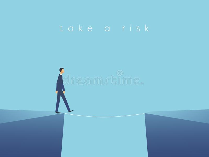 Business risk vector concept with businessman walking on tightrope. Symbol of challenge, success, overcoming and danger. stock illustration