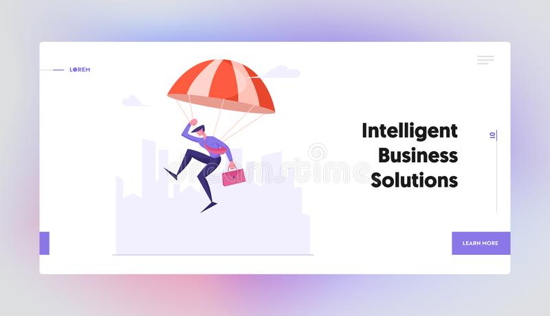Business Risk Website Landing Page. Young Businessman in Formal Suit with Briefcase Landing on Ground with Parachute. On Modern Cityscape Background Web Page vector illustration