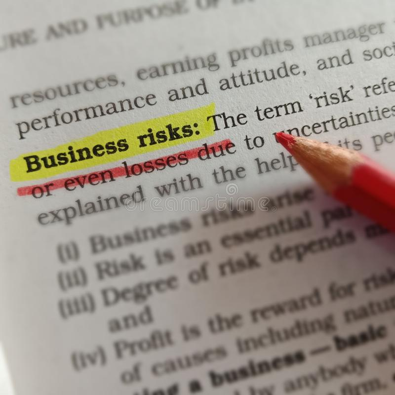 Free Business Risks Words Displaying With Highlighter Text Form Stock Photography - 164056912