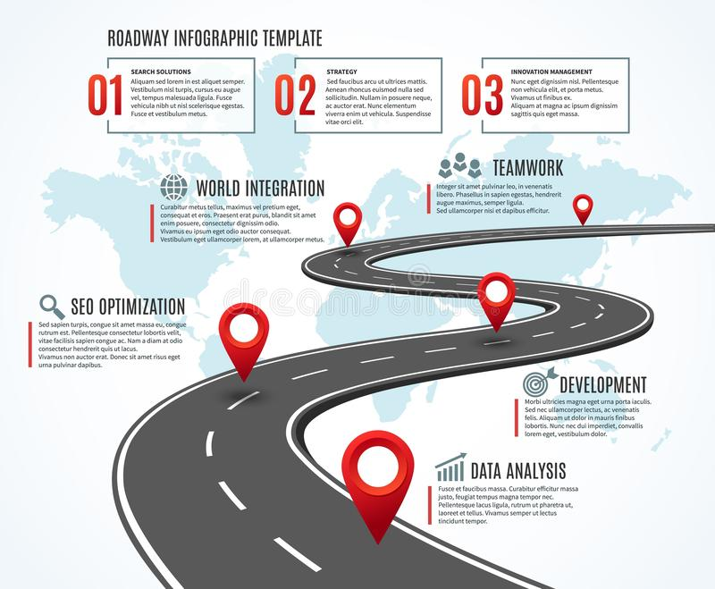 Business road map. Strategy timeline with milestones, way to success. Workflow, planning route infographic vector illustration