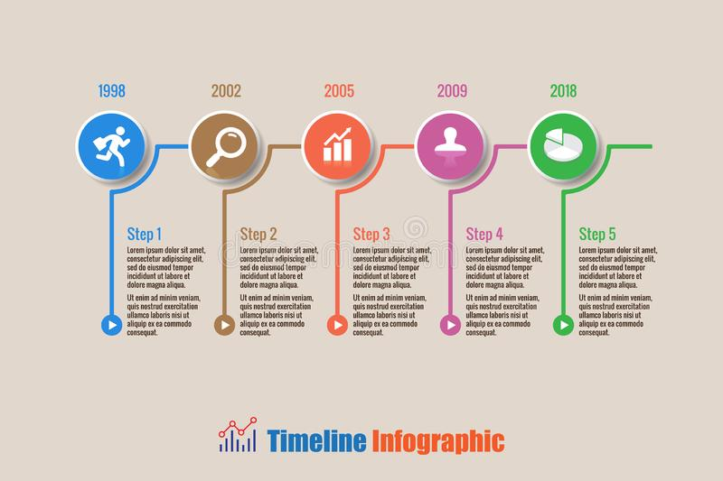 Business road map timeline infographic with 5 steps circle, Vector Illustration. Business road map timeline infographic with 5 steps circle designed for stock illustration