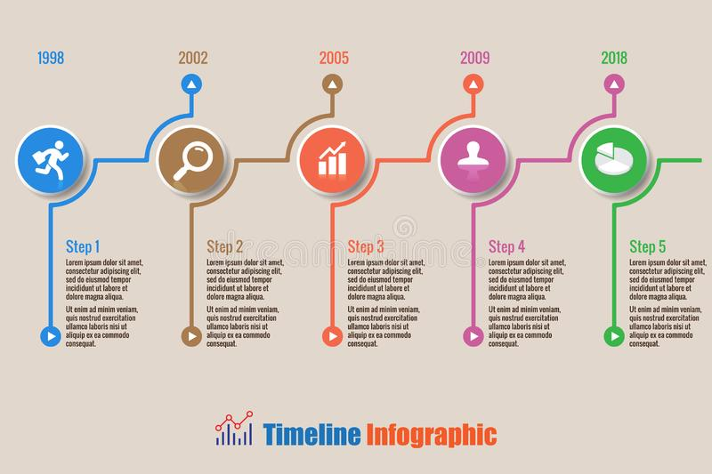 Business road map timeline infographic with 5 steps circle, Vector Illustration. Business road map timeline infographic with 5 steps circle designed for royalty free illustration