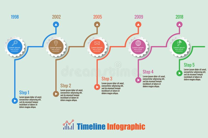 Business road map timeline infographic with 5 steps gear, Vector Illustration. Business road map timeline infographic with 5 steps gear designed for background royalty free illustration