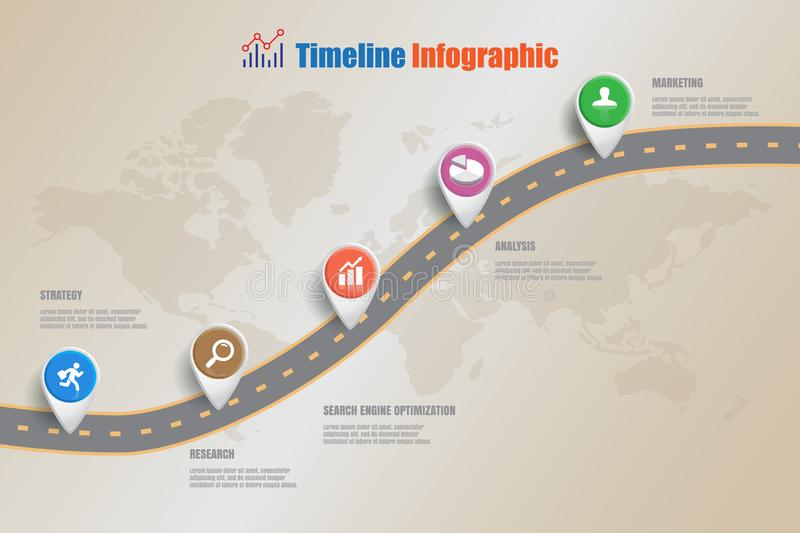 Business road map timeline infographic, Vector Illustration. Business road map timeline infographic icons designed for abstract background template milestone royalty free illustration