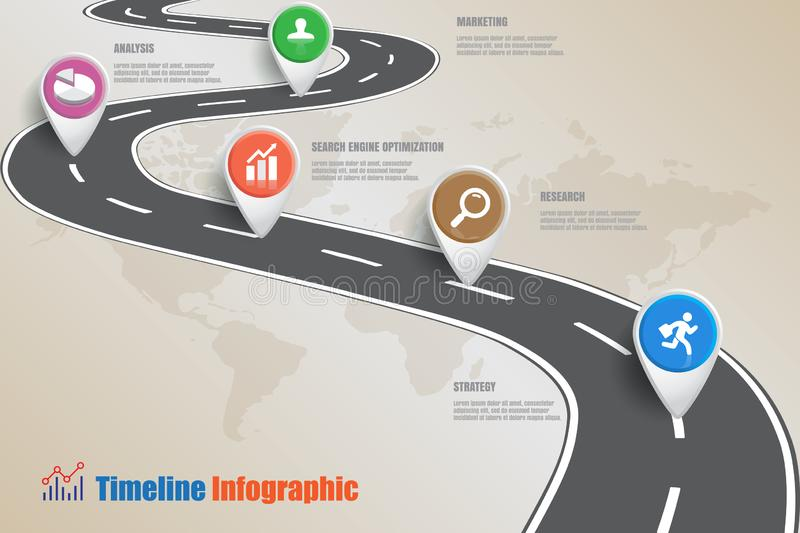 Business road map timeline infographic, Vector Illustration. Business road map timeline infographic icons designed for abstract background template milestone vector illustration