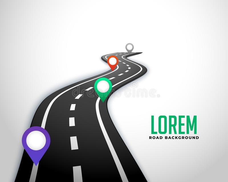 Business road milestone map background. Vector stock illustration
