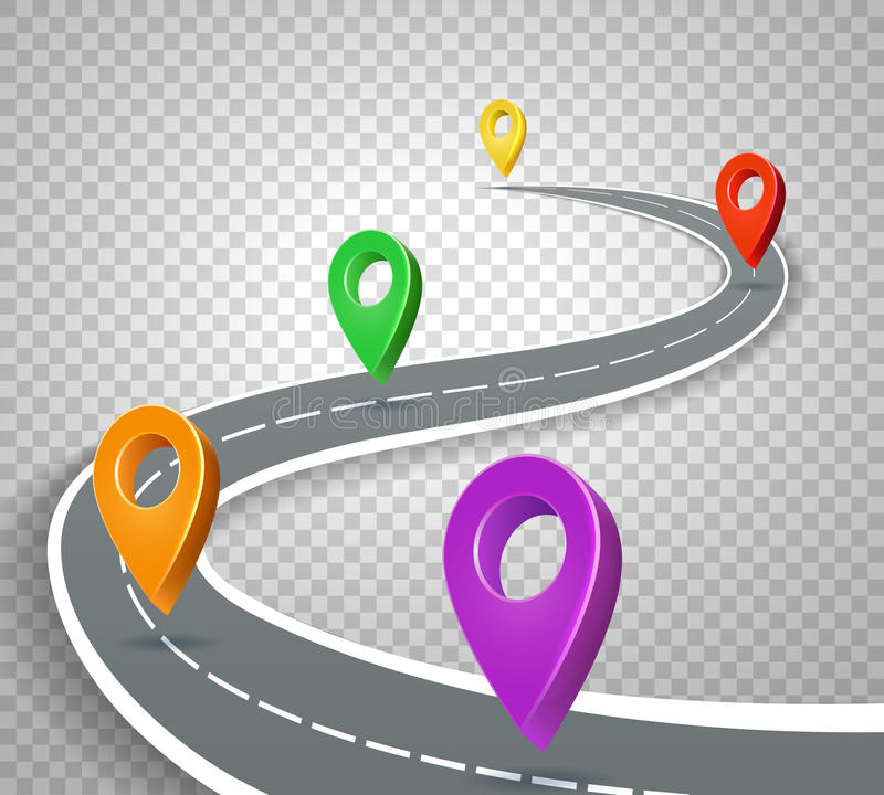 business roadmap 3d pointers on transparent background abstract road with pins vector illustration business map with navigation color marker