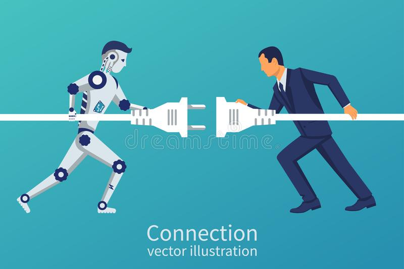 Business and robot connection. Symbol of working together, cooperation, partnership. Future collaboration. Vector illustration flat design. Human and vector illustration