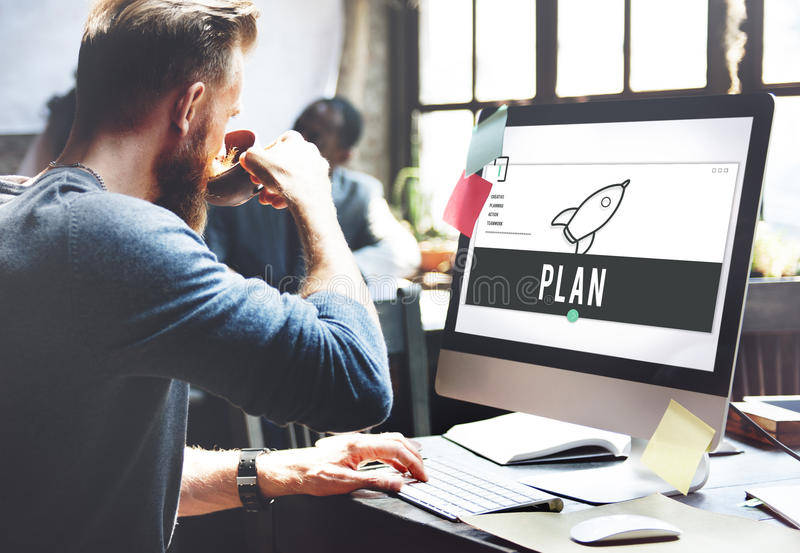 Business Rocket Ship Icon Graphic Concept. Businessman drinking coffee working workplace rocket ship Icon graphic stock photo