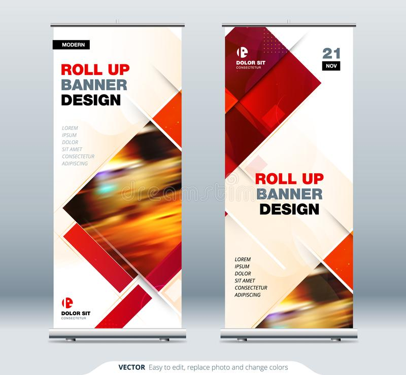Business Roll Up Banner stand. Abstract Roll up background for Presentation. Vertical roll up, x-stand, x-banner royalty free illustration