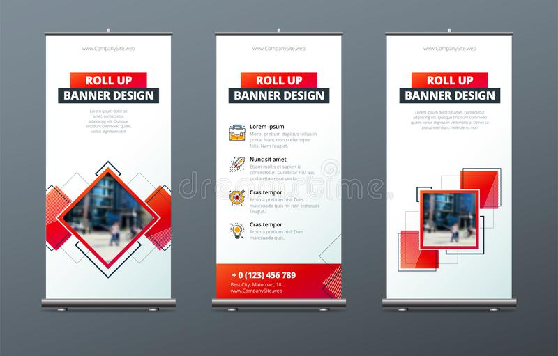 Business Roll Up Banner stand. Presentation concept. Abstract modern roll up background. Vertical roll up template vector illustration