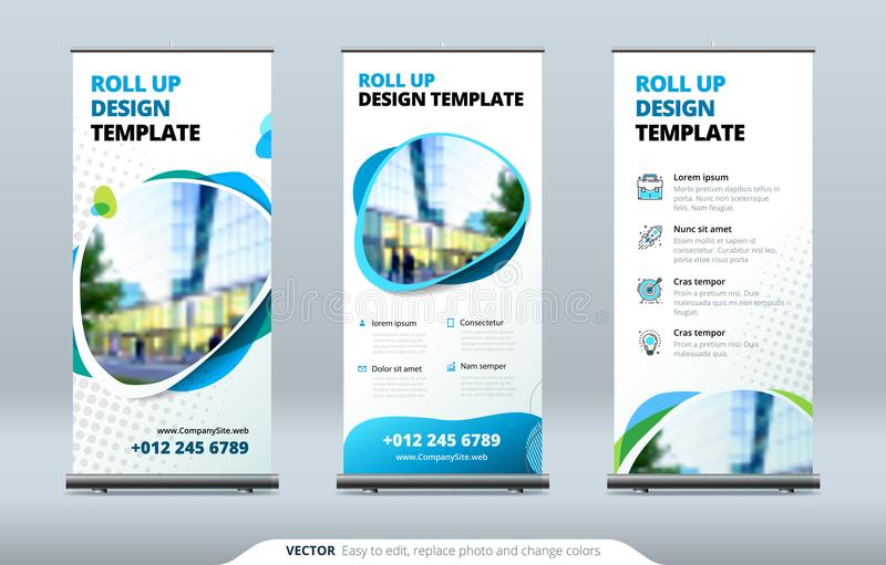 Business Roll Up Banner stand. Presentation concept. Abstract modern roll up background. Vertical roll up template stock illustration
