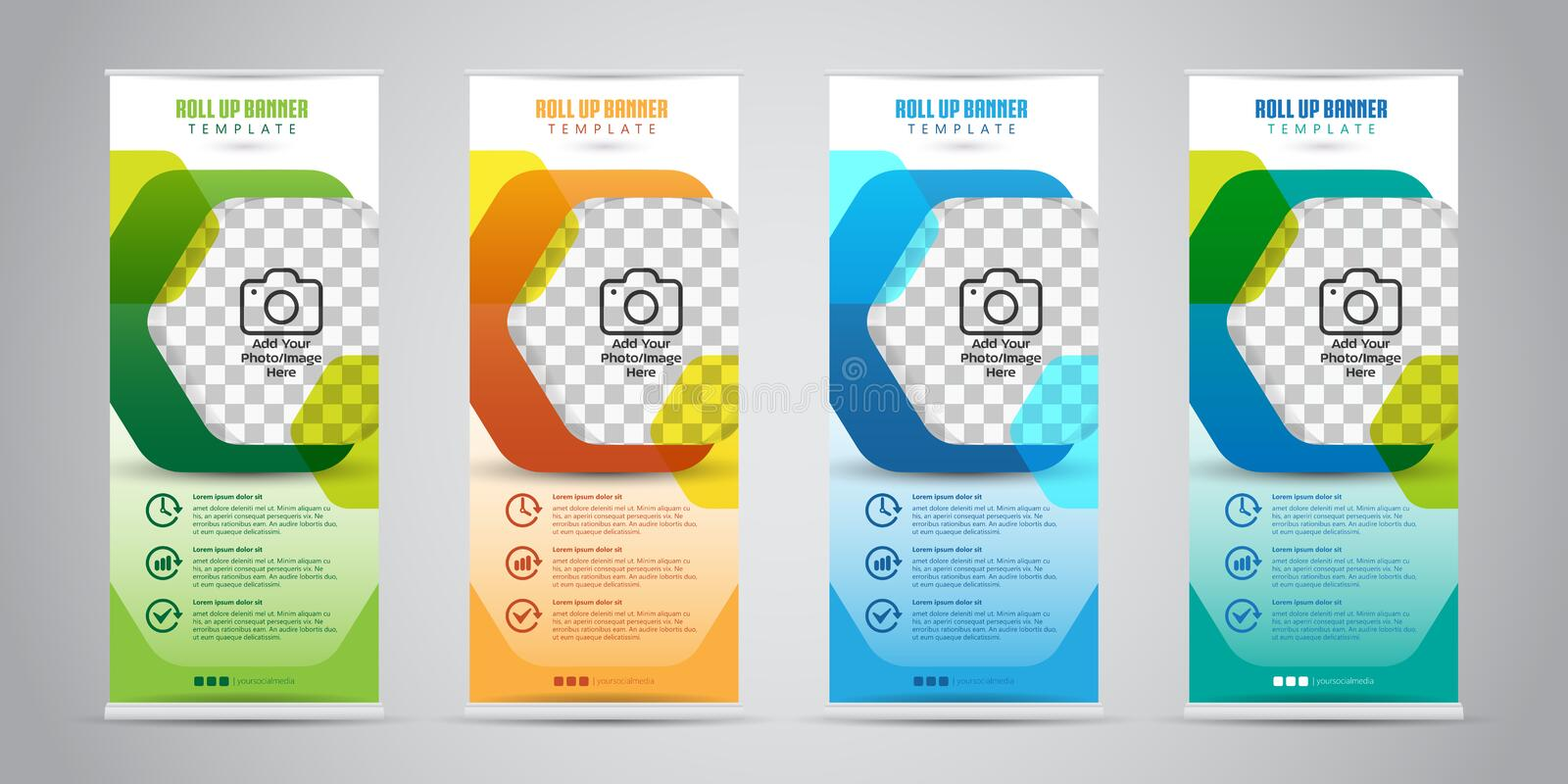 Business Roll Up Banner With 4 Various Color Standee Stock Vector