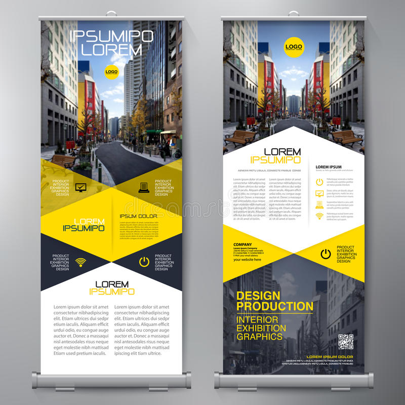 Business Roll Up. Standee Design. Banner Template. Presentation and Brochure Flyer. Vector illustration royalty free illustration