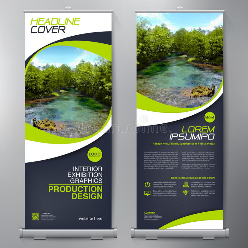 Business Roll Up. Standee Design. Banner Template. Presentation and Brochure Flyer. Vector illustration stock illustration
