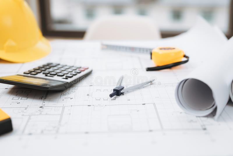 Business room of house architect engineer nobody work construction blueprint House Cost Estimator, Cost to Build a Home. royalty free stock images