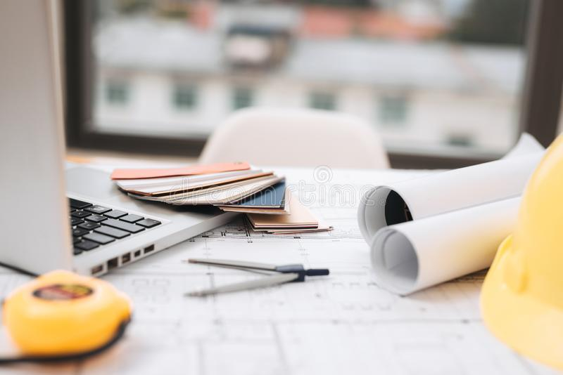 Business room of house architect engineer nobody work construction blueprint House Cost Estimator, Cost to Build a Home. Business room of house architect royalty free stock photos
