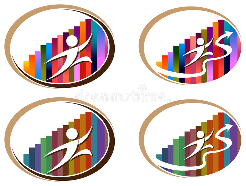 Business run. Isolated illustrated abstract logo set vector illustration