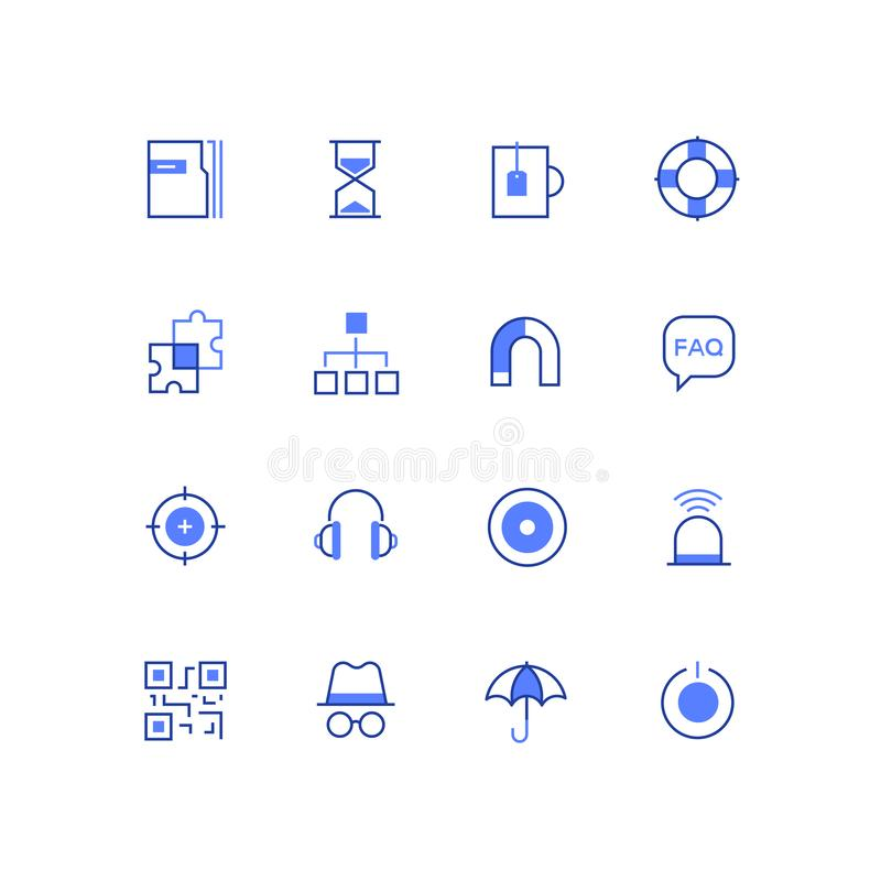 Business and safety - line design style icons set vector illustration