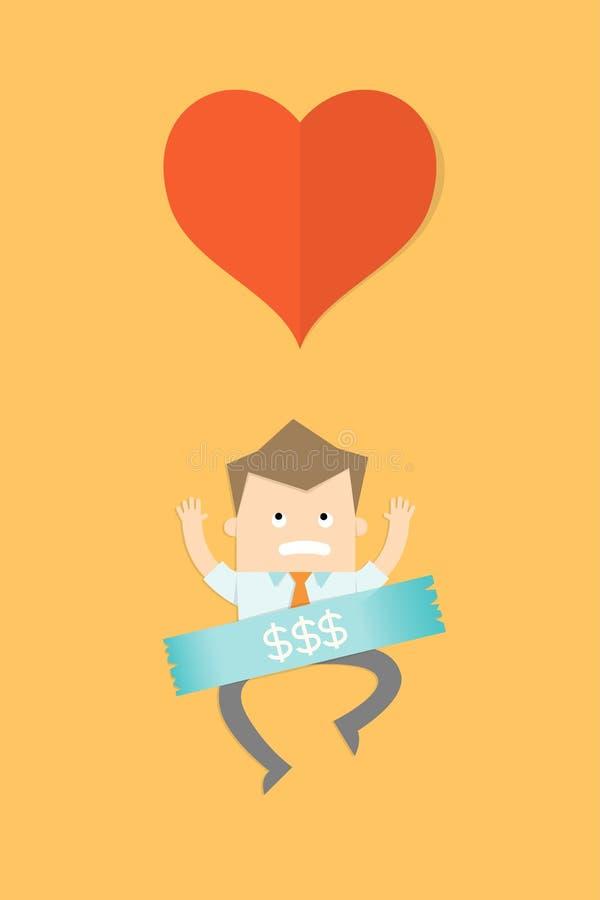 Free Business Salary Man Stuck On Money Stock Photography - 42046362