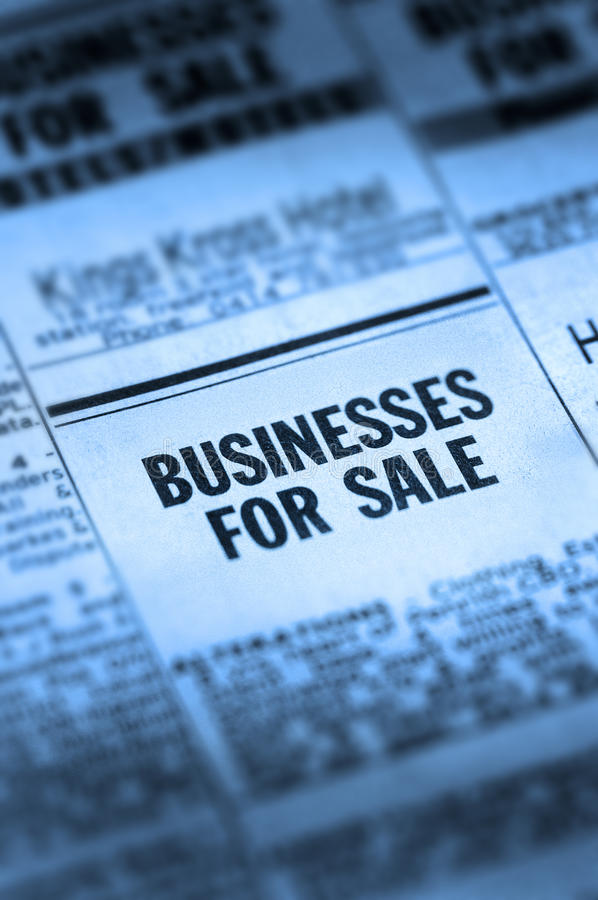 Business For Sale Classifieds. An ad in a classifieds newspaper saying businesses for sale