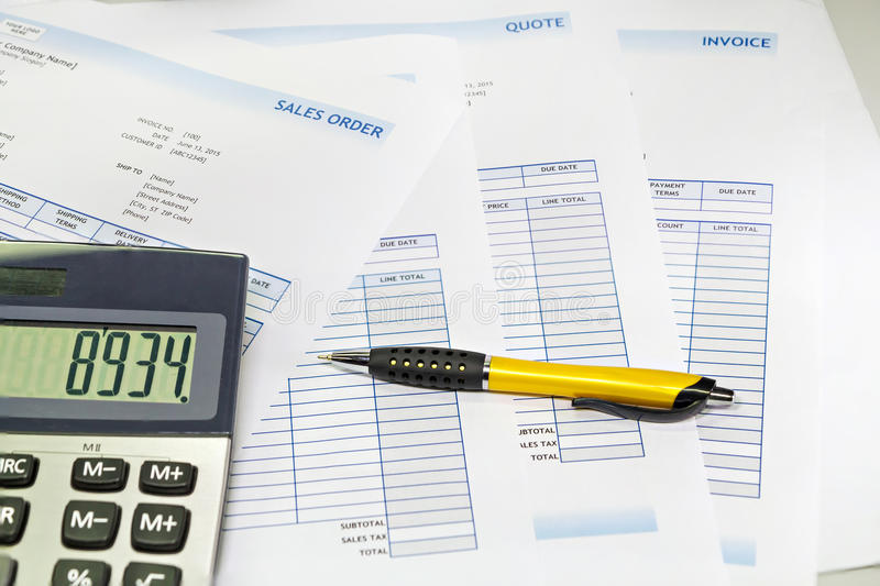 Business sale order. Document with calculator and pen stock photography