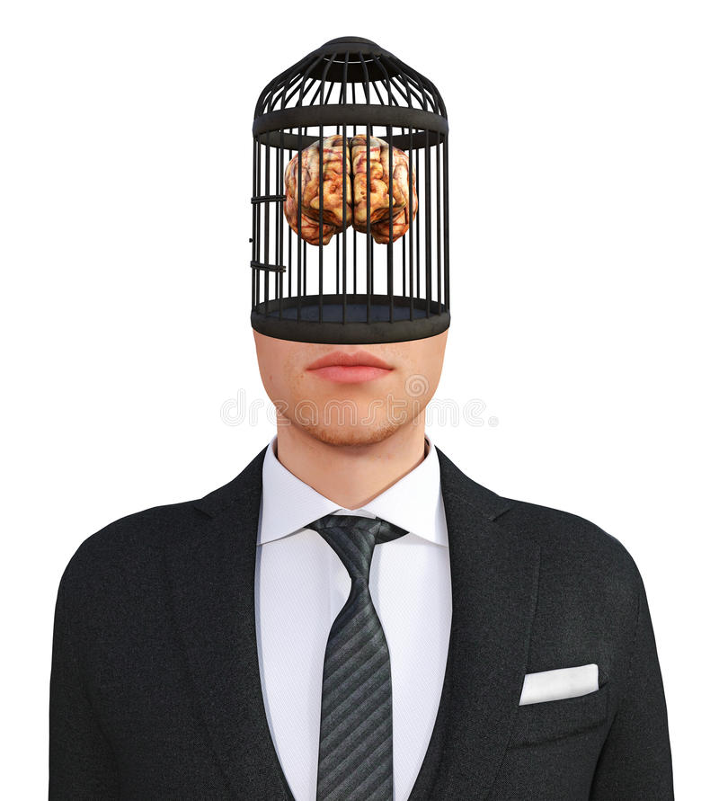 Business, Sales, Human Brain, isolated. Illustration of a human brain in a bird cage which is the body part of a businessman. Abstract concept for business stock illustration