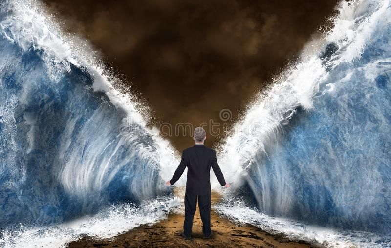 Business, Sales, marketing, Risk, Success. Abstract concept of a businessman walking through the parted sea or ocean. Metaphor for business, sales, marketing stock image