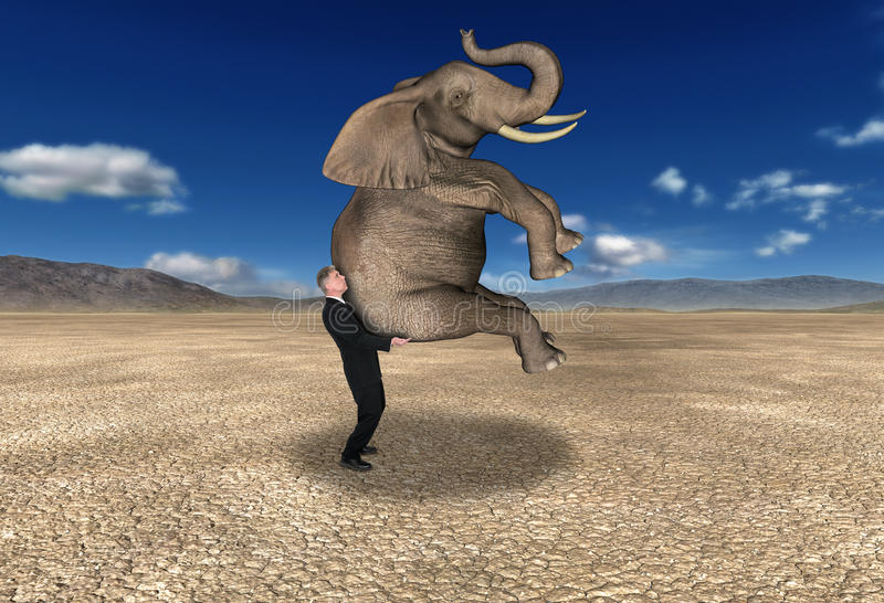 Business Sales Profit Marketing Abstract. Business abstract concept. A businessman is carrying an elephant which is a heavy load in a desolate desert. Metaphor royalty free illustration