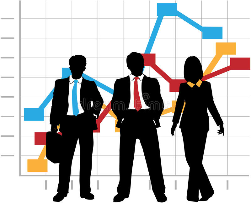 Business Sales Team Company Growth Graph Chart vector illustration