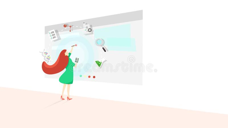 Business science woman with technology, people character vector stock illustration
