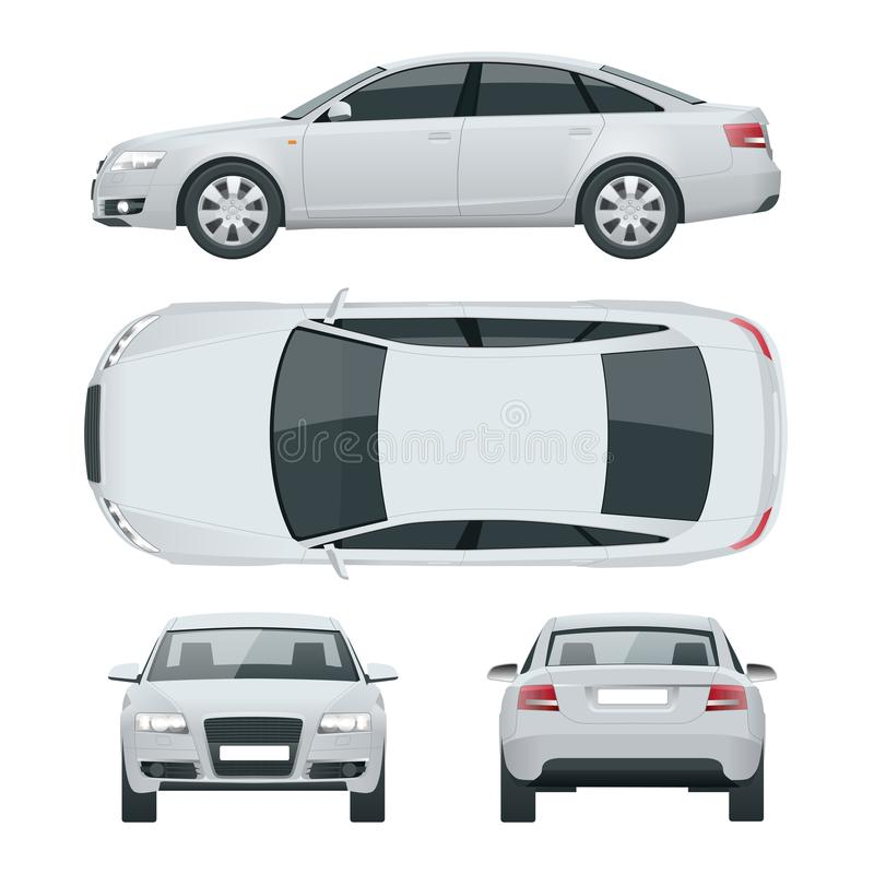 Business sedan vehicle. Car template vector illustration View front, rear, side, top. Change the color in one. Click vector illustration