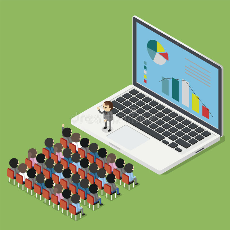Business Seminar online. Isometric concept royalty free illustration
