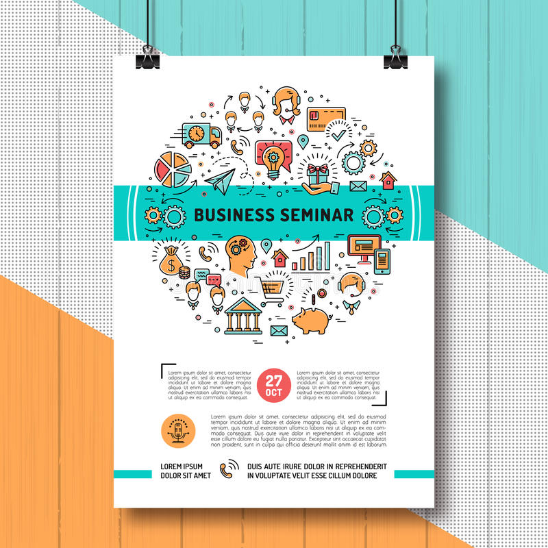 Line Art Poster Design : Business seminar poster templates a size line art icons