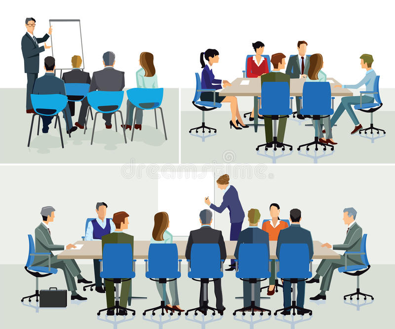 Business seminar and speaker. Doing presentation royalty free illustration