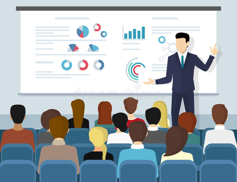 Business seminar speaker doing presentation and professional training vector illustration