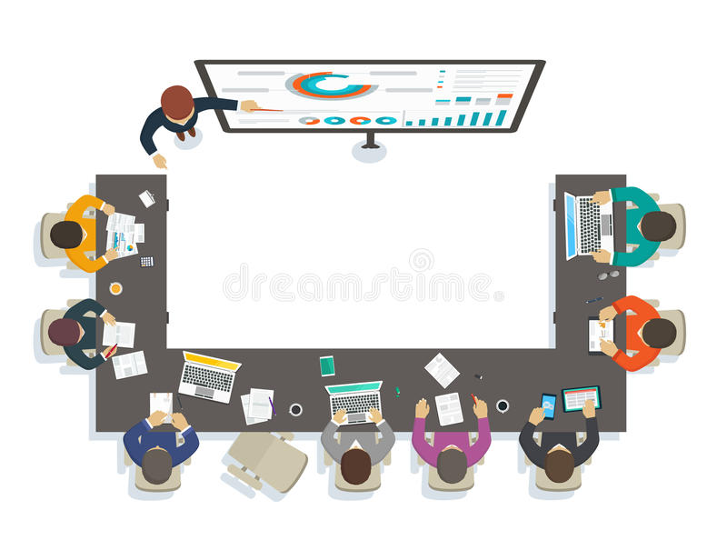Business seminar. Teacher provides training by analytics royalty free illustration