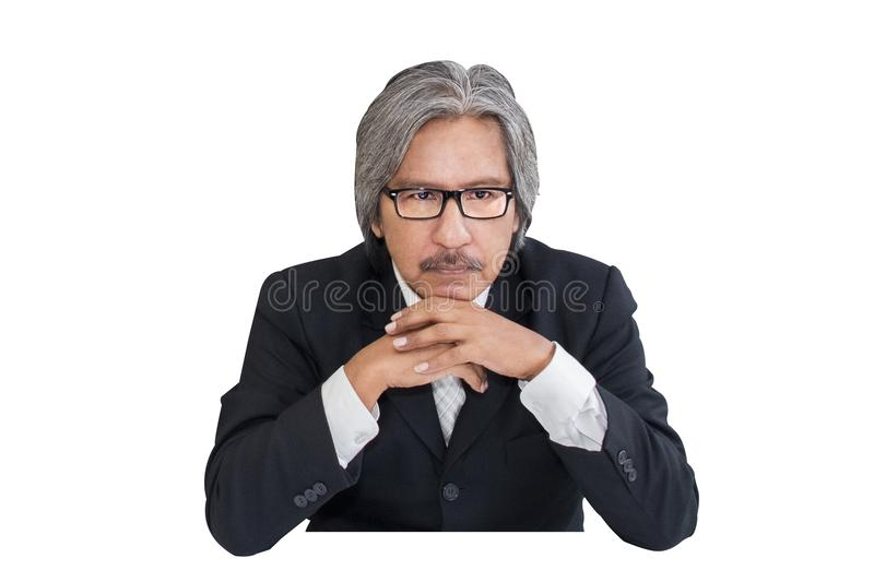 Business senior old man serious in office working stock photo