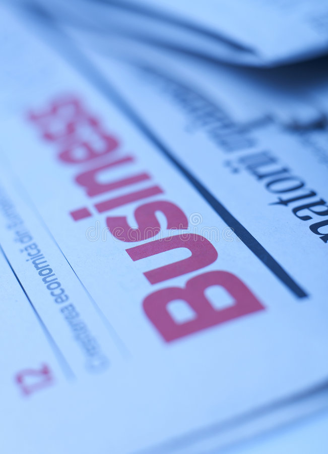 Business series. Newspaper with business inscription on it stock images