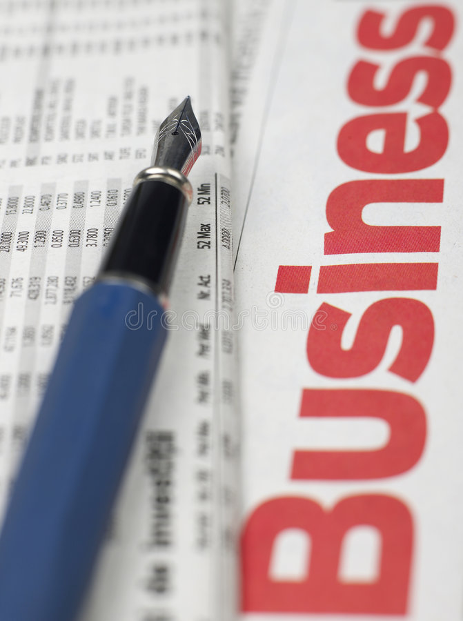Business series. Newspaper, financial numbers and pen stock photos