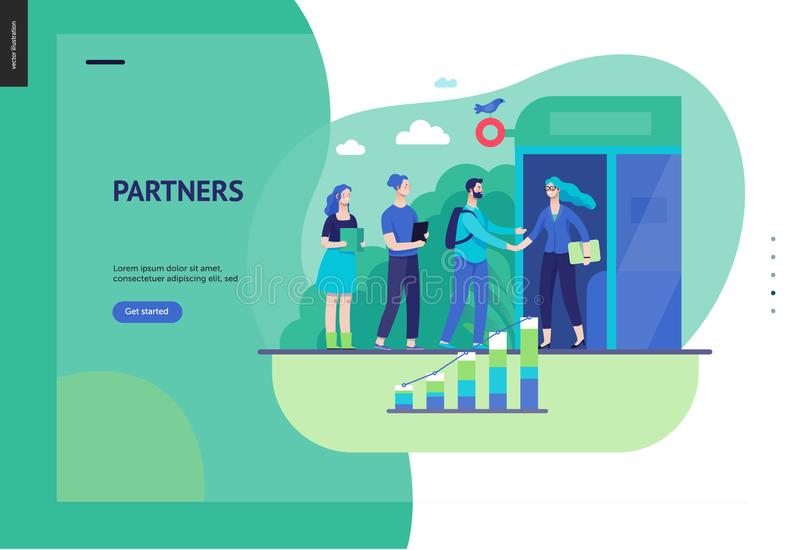 Business series - partners web template. Business series, color 3 - partners -modern flat vector illustration concept of people shaking their hands in the office stock illustration