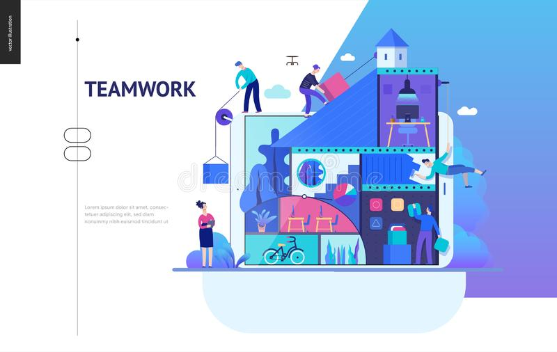 Business series - company, teamwork and collaboration web template stock illustration